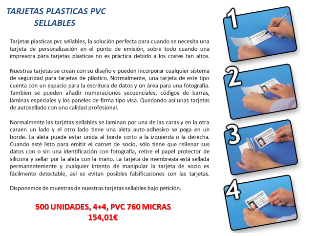 Tarjetas plasticas pvc Sellables